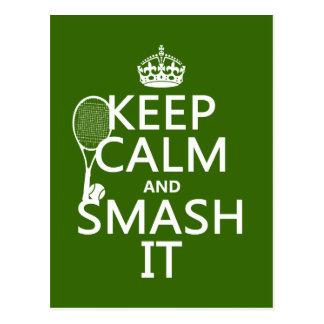 Carte Postale Gardez le calme et le fracas il (tennis) (toute