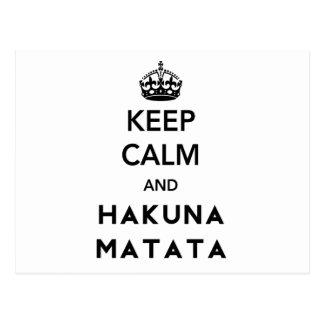 Carte Postale Gardez le calme et le Hakuna Matata