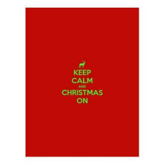 Carte Postale Gardez le calme et le Noël dessus