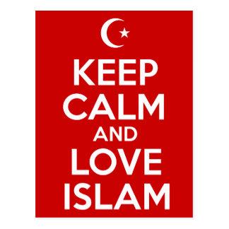 Carte Postale Gardez le calme et l'Islam d'amour