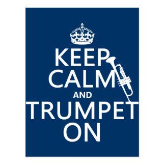 Carte Postale Gardez le calme et sonnez de la trompette sur
