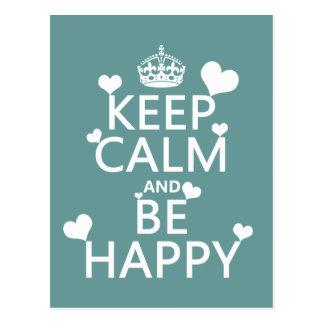 Carte Postale Gardez le calme et soyez heureux (disponible dans