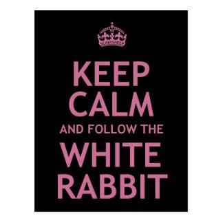 Carte Postale Gardez le calme et suivez le lapin blanc