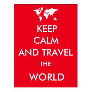 Carte Postale Gardez le calme et voyagez le monde