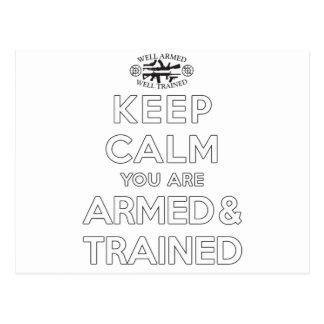 Carte Postale Gardez le calme que vous êtes armés et exercés