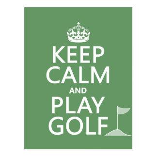 Carte Postale Gardez le golf de calme et de jeu - toutes les