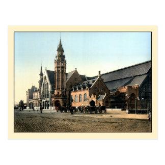 Carte Postale Gare 1890 de Bruges de photo couleur d'antiquité