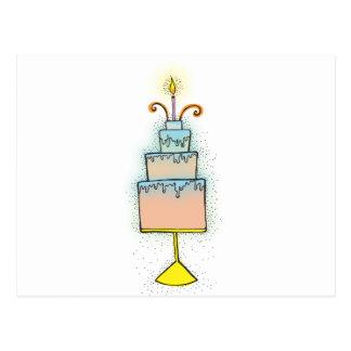 Carte Postale Gâteau d'anniversaire avec les bougies twirly