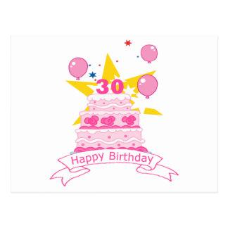 Carte Postale Gâteau d'anniversaire de 30 ans