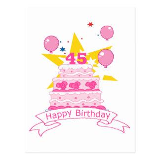 Carte Postale Gâteau d'anniversaire de 45 ans