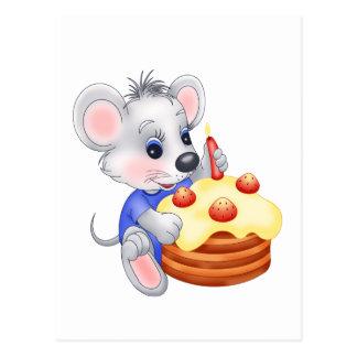 Carte Postale gâteau d'anniversaire de souris