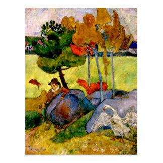 Carte Postale Gauguin - garçon breton dans un paysage