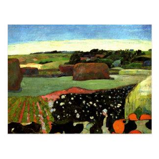 Carte Postale Gauguin - meules de foin en Bretagne, art de Paul