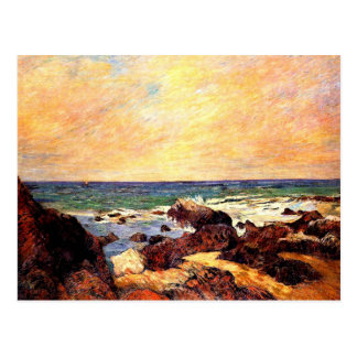 Carte Postale Gauguin - roches et mer, 1886, peignant