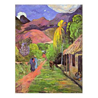 Carte Postale Gauguin - route au Tahiti
