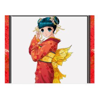 Carte Postale Geisha d'Anime