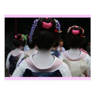 Carte Postale Geisha - frontière rose