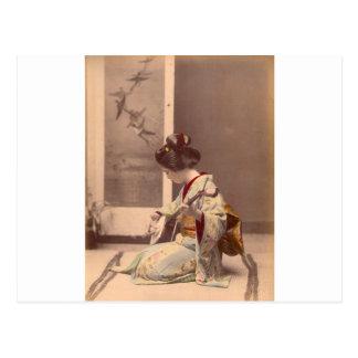 Carte Postale Geisha japonais vintage jouant le shamisen