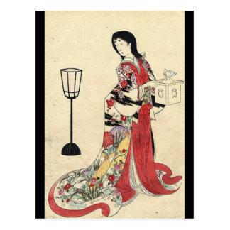 Carte Postale geisha rouge de Japonais de kimono de lanterne