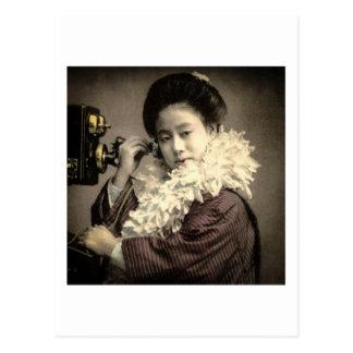 Carte Postale Geisha vintage faisant un appel de minuit au vieux