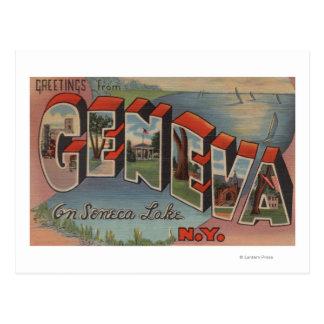 Carte Postale Genève, New York - grandes scènes de lettre