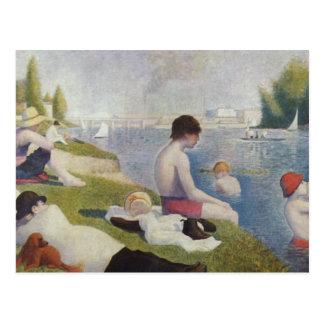 Carte Postale Georges Seurat - baigneurs chez Asnieres