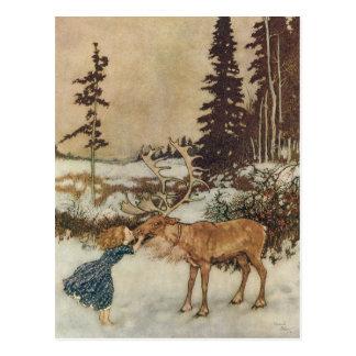 Carte Postale Gerda vintage et le renne par Edmund Dulac