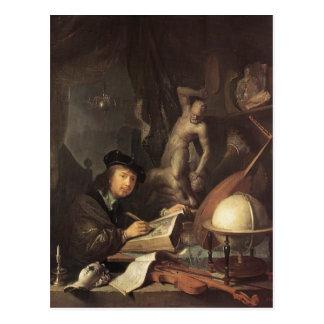 Carte Postale Gerrit Dou le peintre dans son atelier