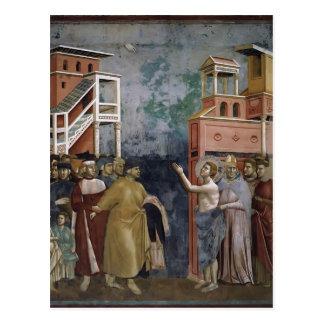 Carte Postale Giotto : St Francis renonce à toutes les
