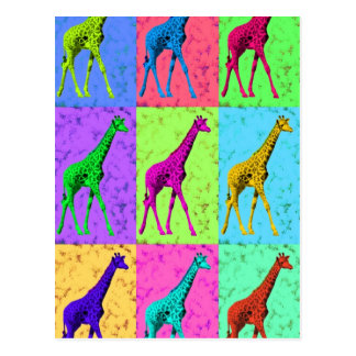 Carte Postale Girafe de marche de Popart d'art de bruit