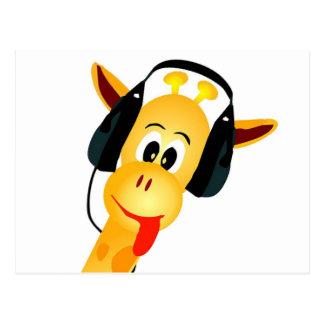 Carte Postale girafe drôle avec des écouteurs