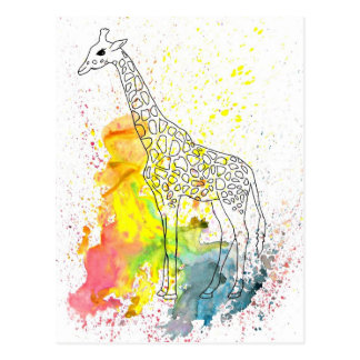 Carte Postale Girafe géniale multicolore (art de K.Turnbull)
