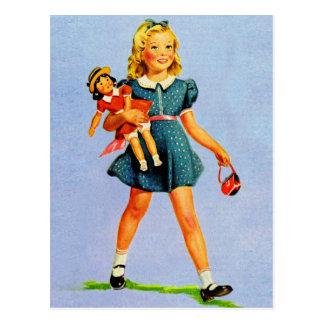 Carte Postale Girl heureux des enfants vintages d'enfants de