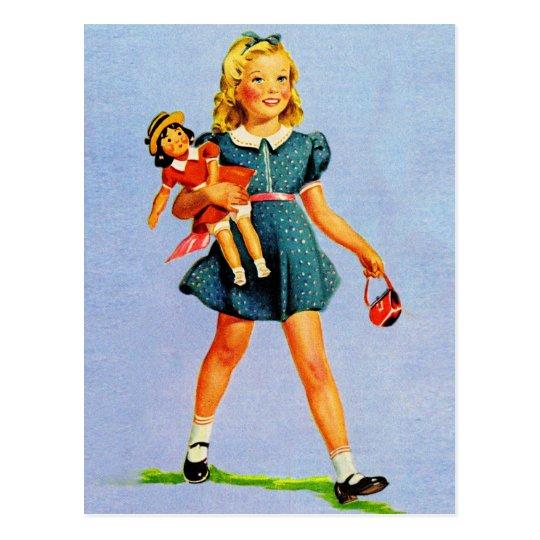 Carte Postale Girl heureux des enfants vintages d'enfants de | Zazzle.fr