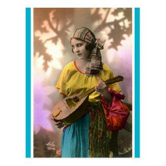 Carte Postale Gitan vintage de mandoline
