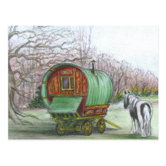 Carte postale gitane de chariot et de cheval