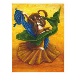 Carte postale gitane de chat de danseuse du ventre
