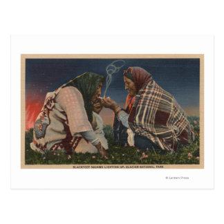 Carte Postale Glacier, la TA - tabagisme Blackfoot de deux
