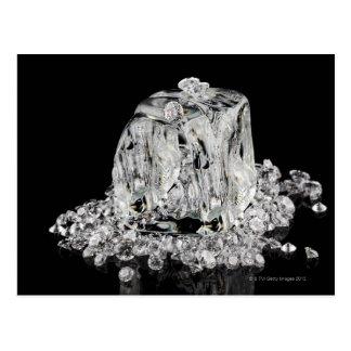 Carte Postale Glaçons fondant dans des diamants