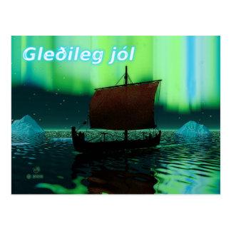 Carte Postale Gleðileg Jól - bateau de Viking et lumières du