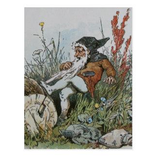 Carte Postale Gnome avec sa barbe propagée un rondin