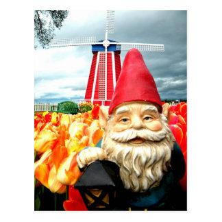 Carte Postale Gnome de moulin à vent