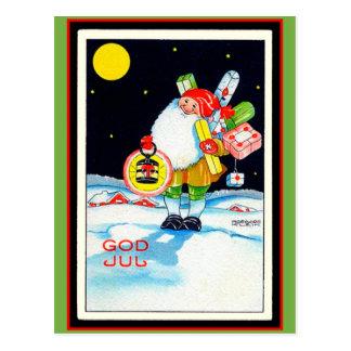 Carte Postale Gnome suédois vintage de juillet de Dieu d'image