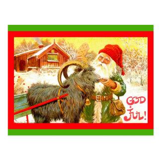 Carte Postale Gnome suédois vintage ou Père Noël avec la chèvre