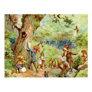 Carte Postale Gnomes, elfes et fées dans la forêt magique