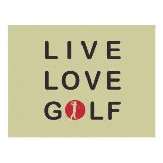 Carte Postale Golf vivant d'amour jouant au golf le noir rouge