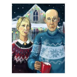 Carte Postale Gothique américain - parodie d'hiver