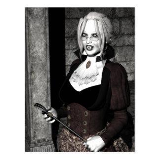 Carte postale gothique de vampire de maîtresse