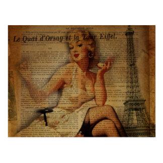 Carte Postale goupille vintage de fashionista de Paris de Tour