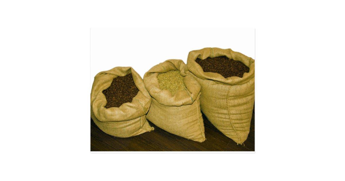 Carte postale grains de caf dans le sac toile de jute - Sac de cafe en grain ...